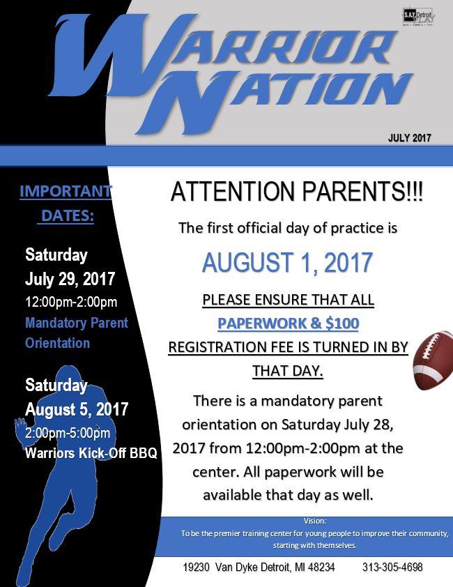 Mandatory Parent Orientation for Warrior Nation | SAY Play Center